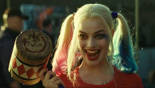 Margot Robbie as Harley Quinn.