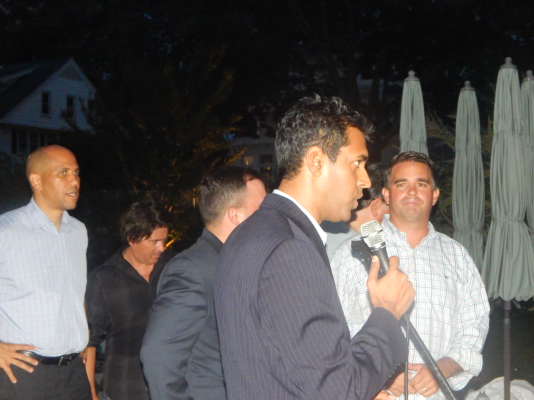 Gopal introduces Booker (left to right: Booker, Gopal and Doherty)