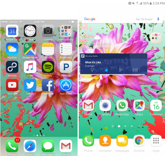I gave up my iPhone 6 (left) to try the Galaxy Note 7 (right), and yes I used the same background image to help me acclimate.