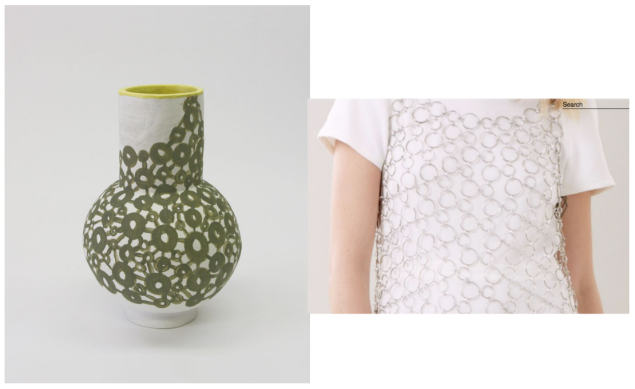 A chainmail dress and it's ceramic counterpart