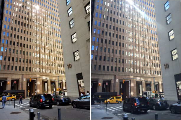 Broad Street, Manhattan shot with the Galaxy Note 7 (left) and the iPhone 6 (right).