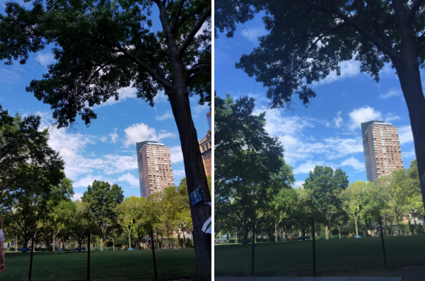 Battery Park shot with the Galaxy Note 7 (left) and iPhone 6 (right).