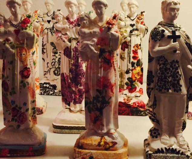 Floral Motif Saint Statues