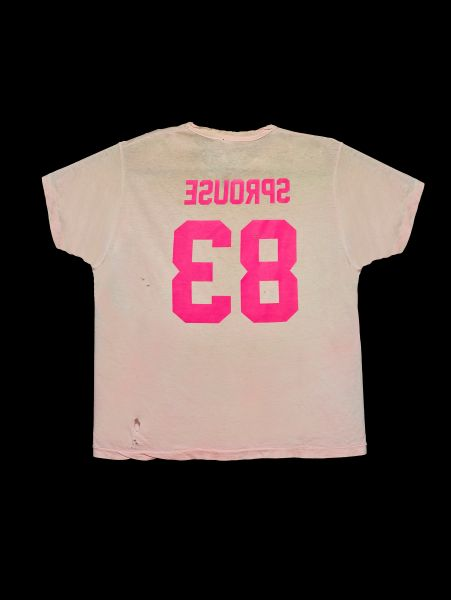 To celebrate Stephen Sprouse, Linton crafted the backwards lettered shirt to be reminiscent of the designer's famous 1983 neon graffiti print.