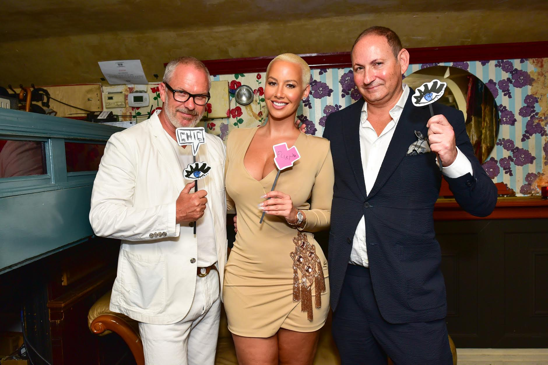Donald Robertson, Amber Rose, John Demsey==Donald Robertson & John Demsey Celebrate the Launch of Flirt Cosmetics with Amber Rose==The Box, NY==August 15, 2016==©Patrick McMullan==Photo - Sean Zanni/PMC====