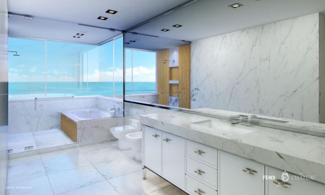 All marble bathrooms, of course.