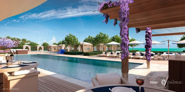 A plethora of cabanas poolside.