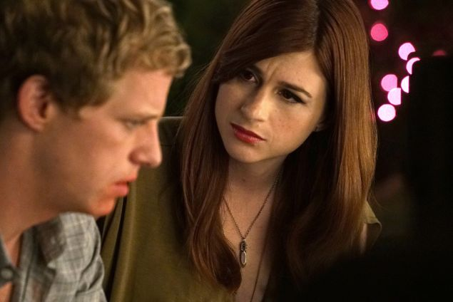 Chris Geere as Jimmy and Aya Cash as Gretchen.