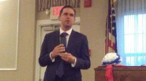 Jersey City Mayor Steven Fulop at the front of the room.