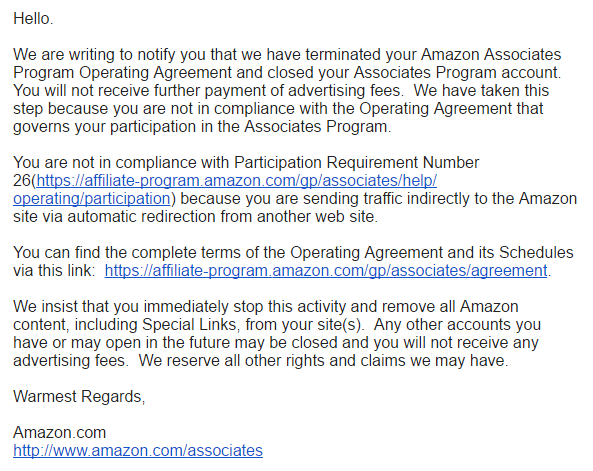 "Amazon.com bans me from the Amazon Associates program (with ""warmest regards"" of course)"