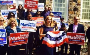 Janine Materna at her campaign kickoff.