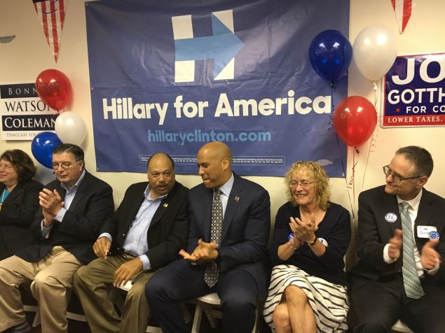 Hughes, Currie, Booker, and Somerset County Democratic chair Peg Schaffer.