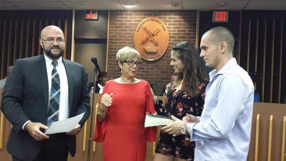 Councilwoman Esther Perez was sworn in to replace Esquiche.