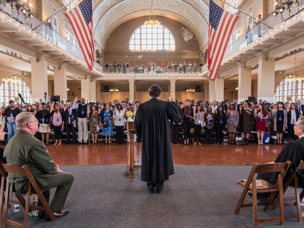 Judge Robert Katzmann presides over the largest naturalization ceremony in Ellis' Island's history.