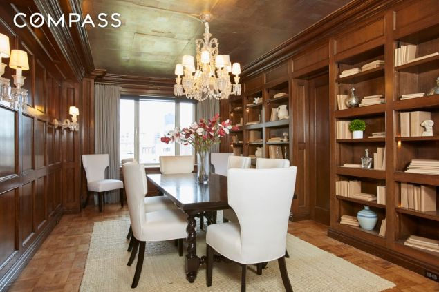 Wood paneled dining room, because Fifth Avenue.