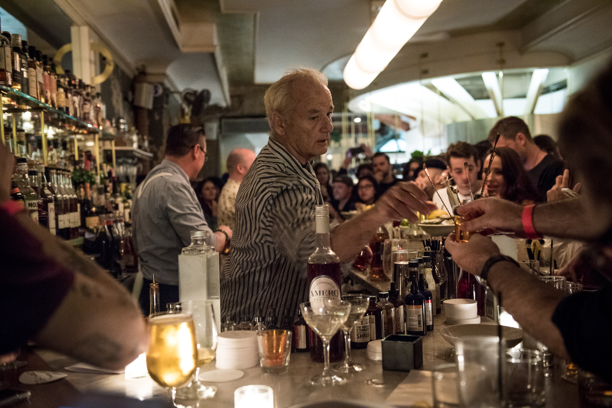Bill Murray bartends in Brooklyn, at 21 GREENPOINT, 21 Greenpoint Ave in Brooklyn. September 16, 2016. (Photo by Gabi Porter)