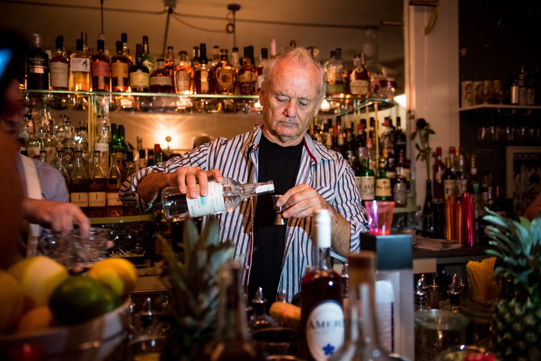NEW YORK - September 16: PULSE - Bill Murray bartends in Brooklyn, at 21 GREENPOINT, 21 Greenpoint Ave in Brooklyn. September 16, 2016. (Photo by Gabi Porter)