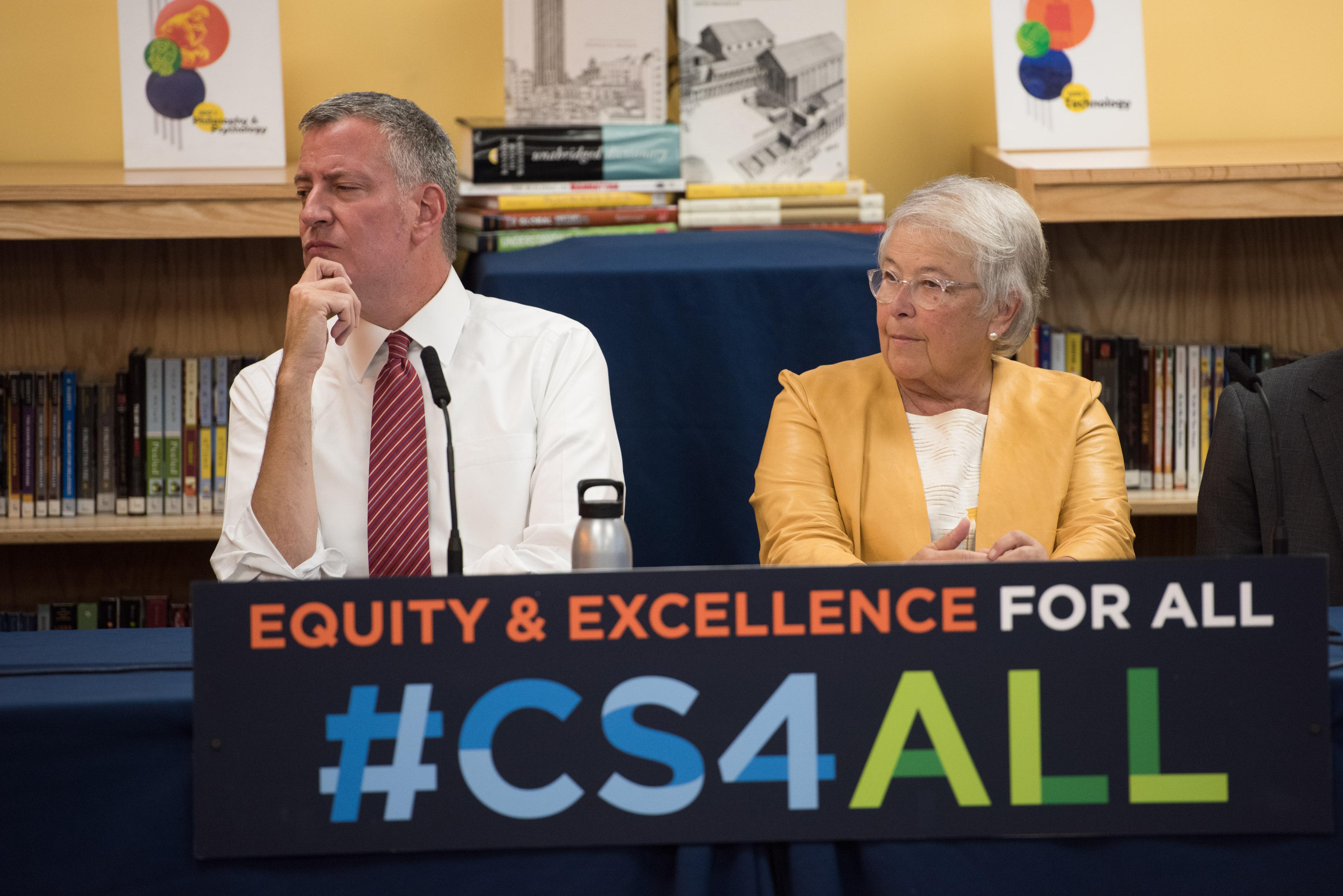 Mayor Bill de Blasio and Schools Chancellor Carmen Fariña in the Bronx today.