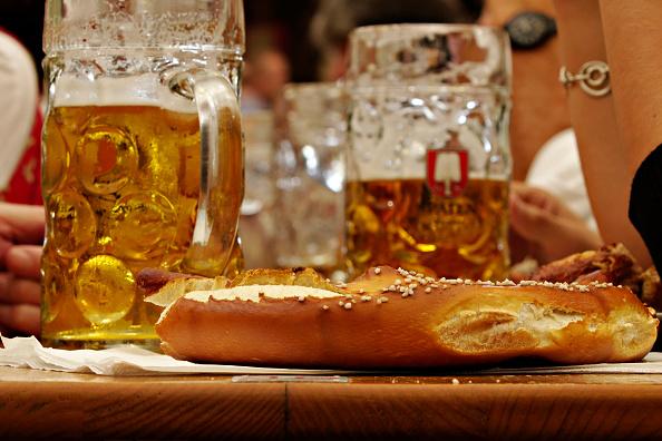 Brezen bread and beer in Bavaria.
