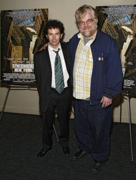 "Screenwriter Charlie Kaufman and actor Philip Seymour Hoffman attend the 2008 New York Variety Screening Series screening of ""Synecdoche, New York"" at the Landmark Sunshine Cinema on October 16, 2008 in New York City."