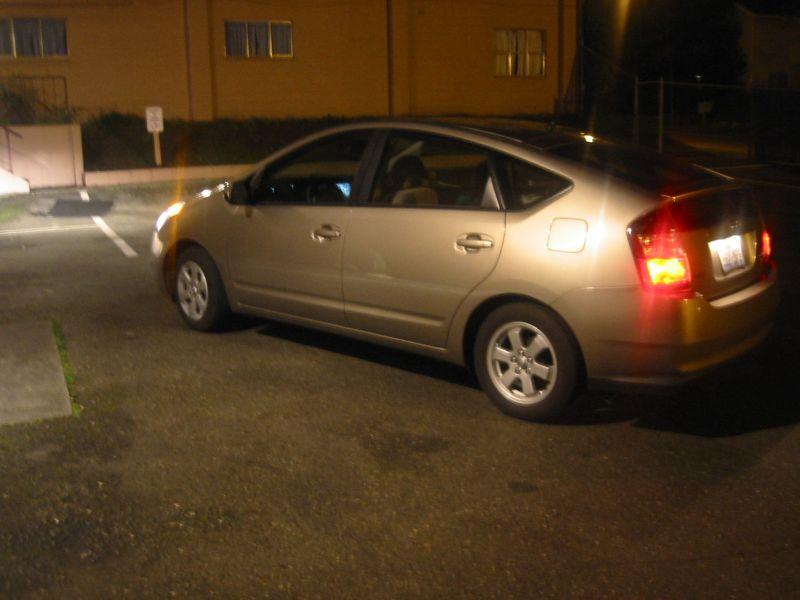 A Prius at night.