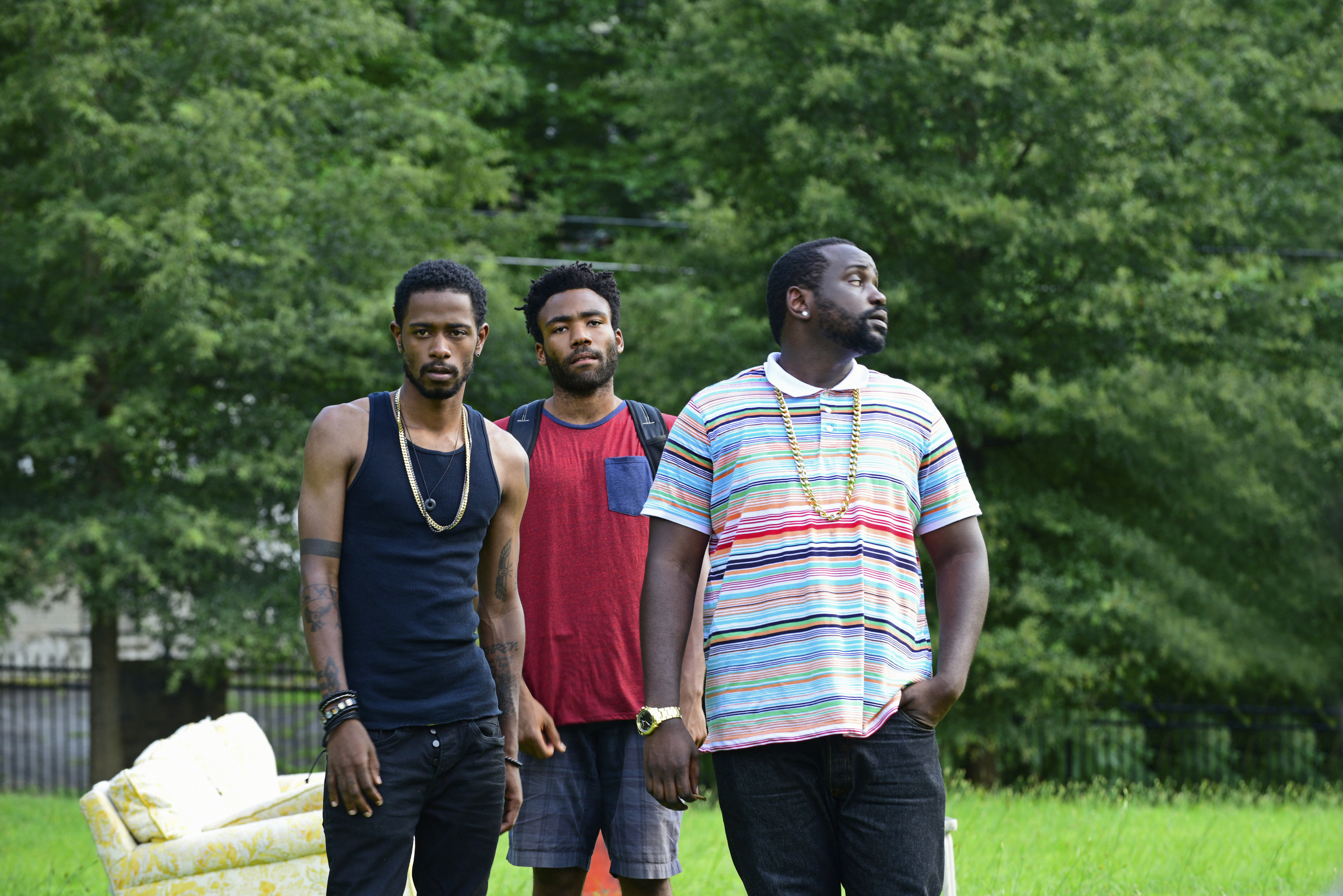 (l-r) Keith Standfield as Darius, Donald Glover as Earnest Marks, Brian Tyree Henry as Alfred Miles.