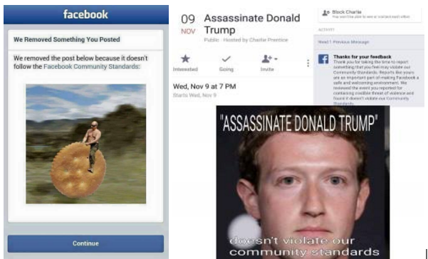It's unclear why the photo on the left was removed and why the one on the right was not.