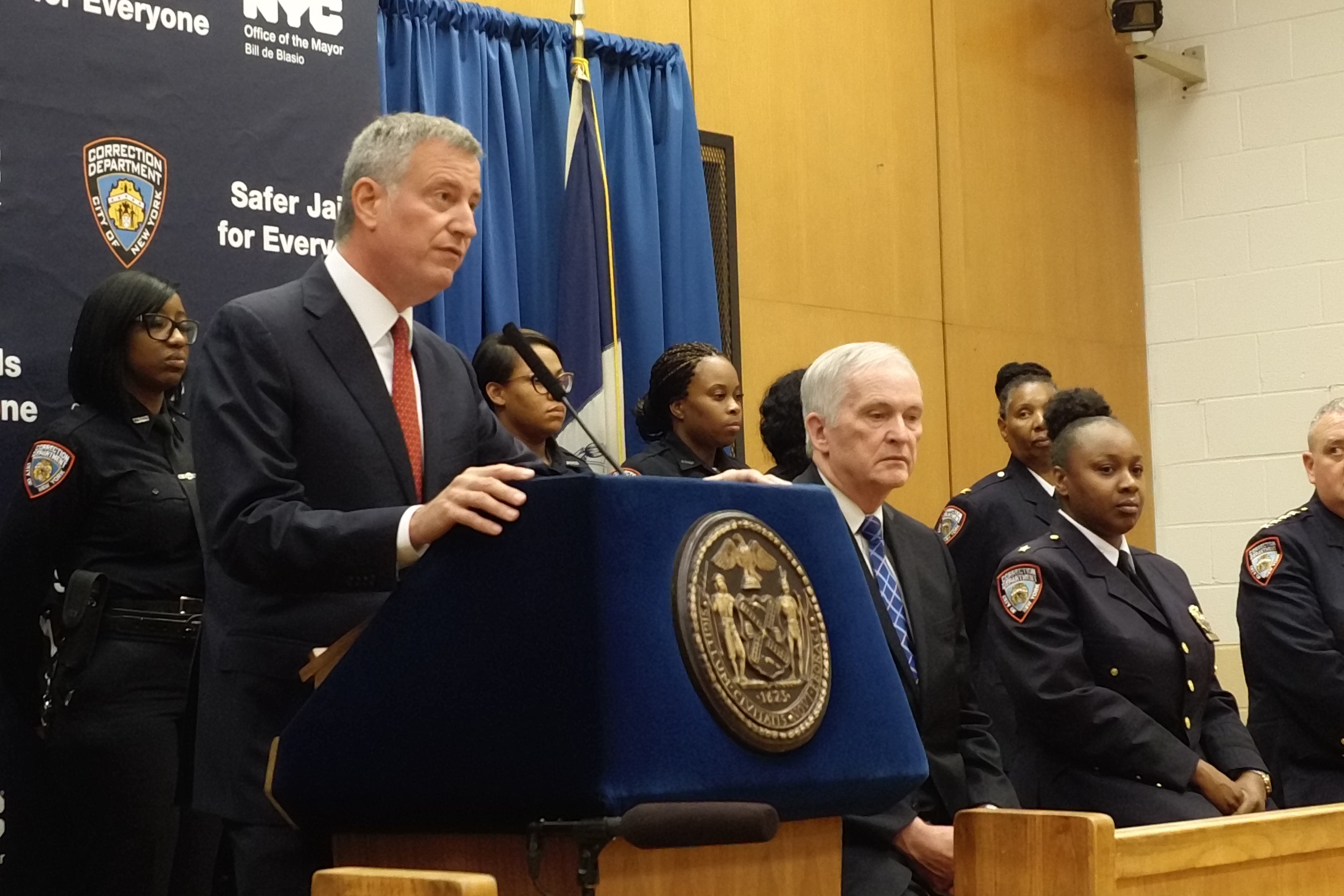 Mayor Bill de Blasio and Commissioner Joseph Ponte on Rikers Island today.