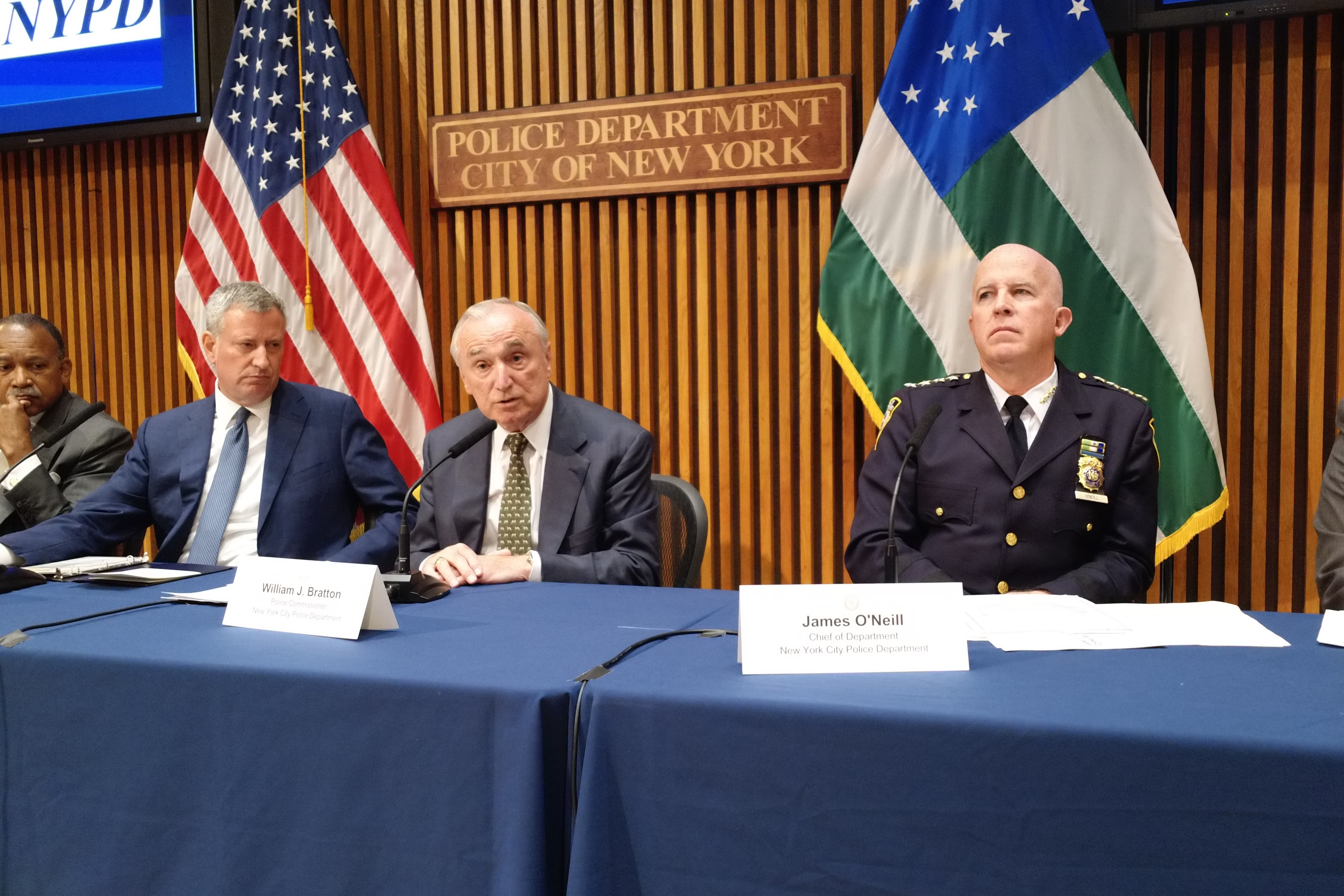 Mayor Bill de Blasio, Police Commissioner Bill Bratton and Chief of Department James O'Neill at today's crime stats press conference.
