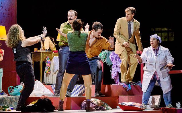 Comedy ensues: the cast of LoftOpera's 'Cosi fan tutte'.