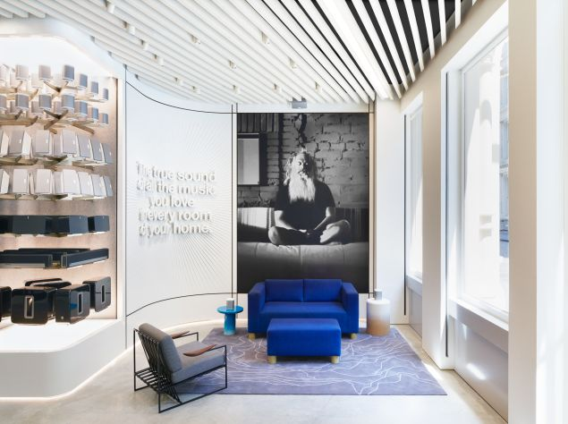 The store's foyer features a hand-painted mural of Def Jam Records founder and Sonos sound advisor Rick Rubin