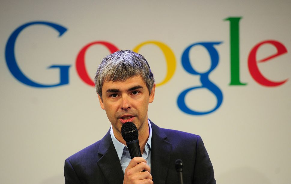 Google CEO Larry Page holds a press annoucement at Google headquarters in New York on May 21, 2012
