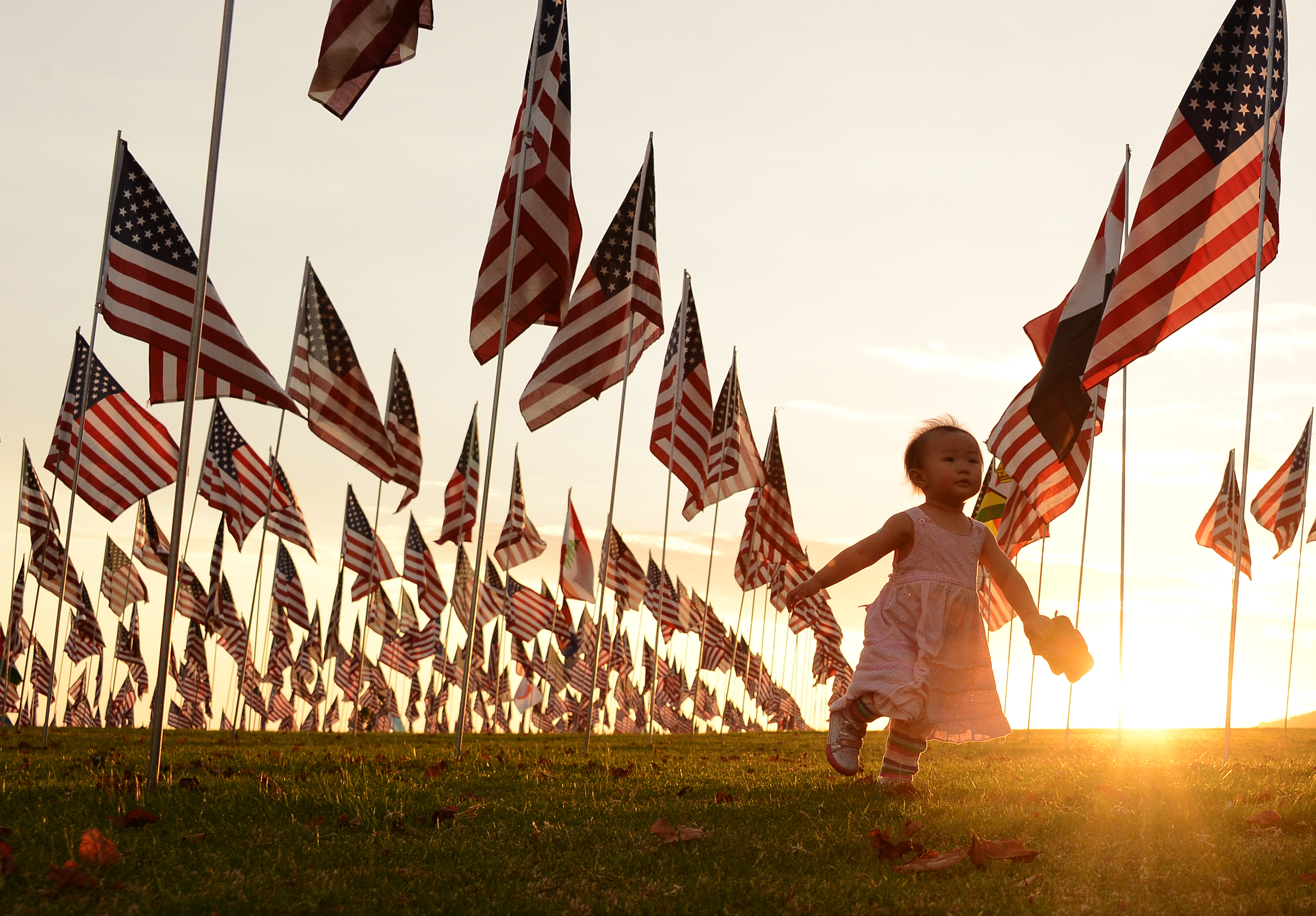 Collective trauma: A child walks amongst US national flags erected to honor victims of the 9/11 attacks.
