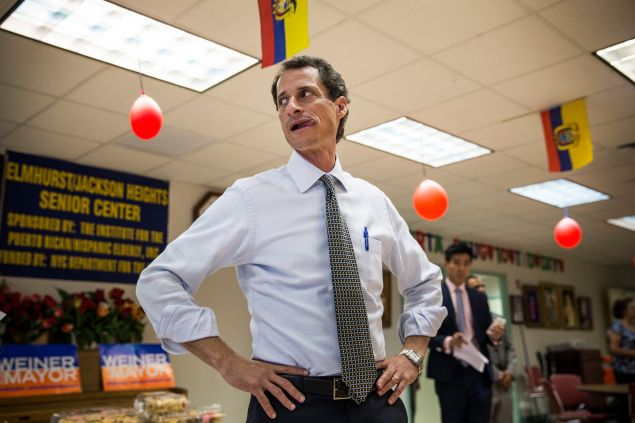New York City mayoral candidate and former U.S. Rep. Anthony Weiner (D-NY) waits to speak to seniors at Elmhurst Senior Center on August 5, 2013 in New York City.