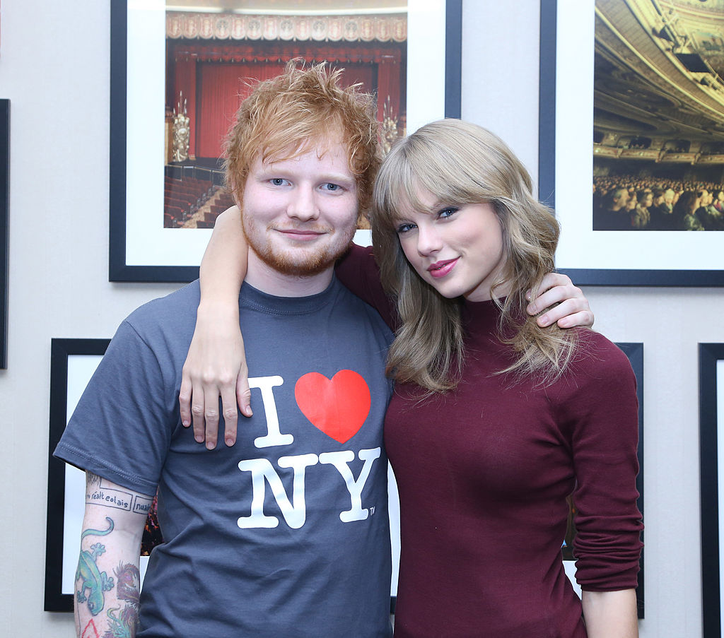 Ed Sheeran poses with Taylor Swift backstage before his sold-out show at Madison Square Garden Arena on November 1, 2013 in New York City. (Photo by Anna Webber/Getty Images for Atlantic Records)