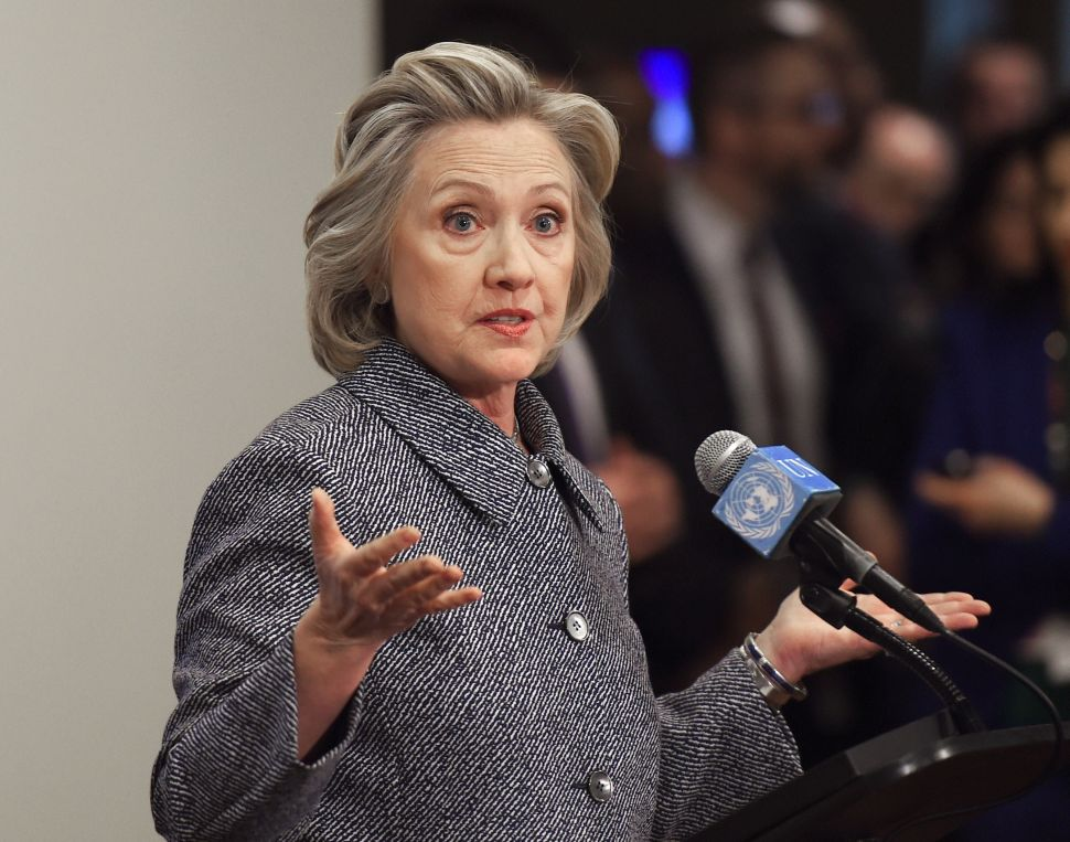 Hillary Clinton answers questions from reporters March 10, 2015 at the United Nations in New York. Clinton admitted Tuesday that she made a mistake in choosing for convenience not to use an official email account when she was secretary of state.