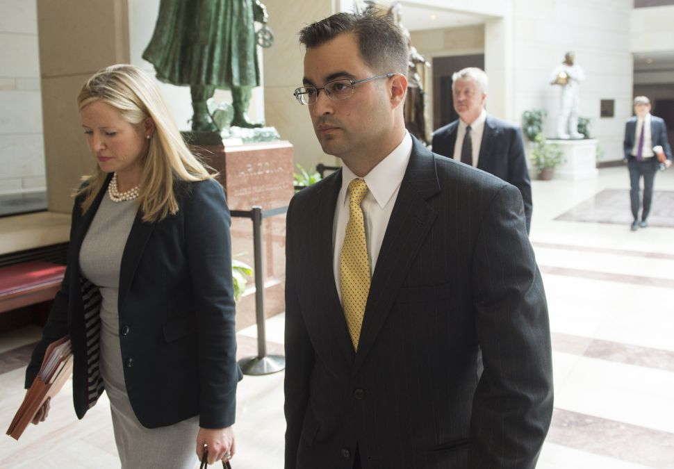 Bryan Pagliano, a former State Department employee who worked on Hillary Clinton's private e-mail server, leaves after invoking his Fifth Amendment right against self-incrimination, before the House Select Committee on Benghazi in Washington, DC, September 10, 2015.