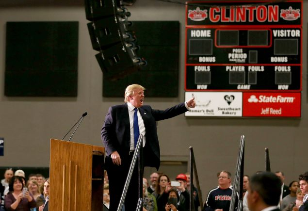 CLINTON, IA - JANUARY 30: Republican presidential candidate Donald Trump speaks during a campaign event at Clinton Middle School on January 30, 2016 in Clinton, Iowa.