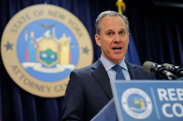 New York Attorney General Eric Schneiderman speaks at a news conference to announce enforcement action against Morgan Stanley on February 11, 2016 in New York City.