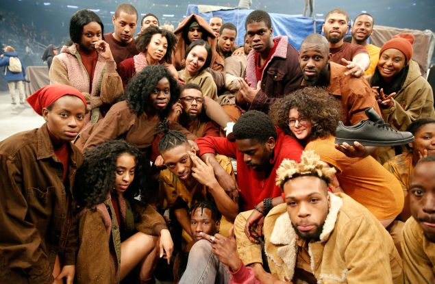 NEW YORK, NY - FEBRUARY 11: Extras pose during Kanye West Yeezy Season 3 on February 11, 2016 in New York City. (Photo by JP Yim/Getty Images for Yeezy Season 3)