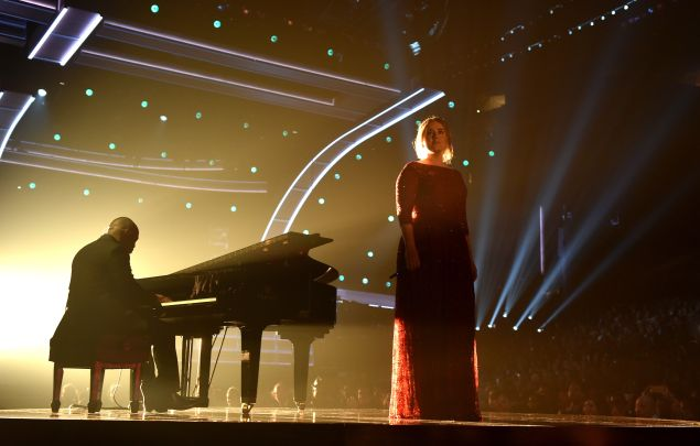 Singer Adele performs onstage during The 58th GRAMMY Awards at Staples Center on February 15, 2016 in Los Angeles, California.