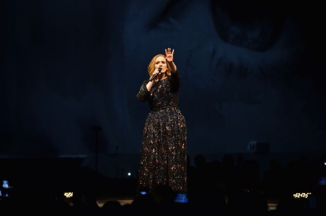 Adele performs on stage at the at 3Arena Dublin on March 4, 2016 in Dublin, Ireland.