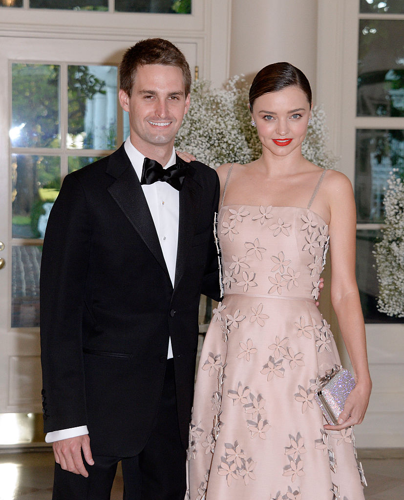 Miranda Kerr and Evan Spiegel arrive at the state dinner in honor of President of Finland and the Prime Ministers of Norway, Sweden, Denmark and Iceland at the White House in Washington on May 13, 2016.