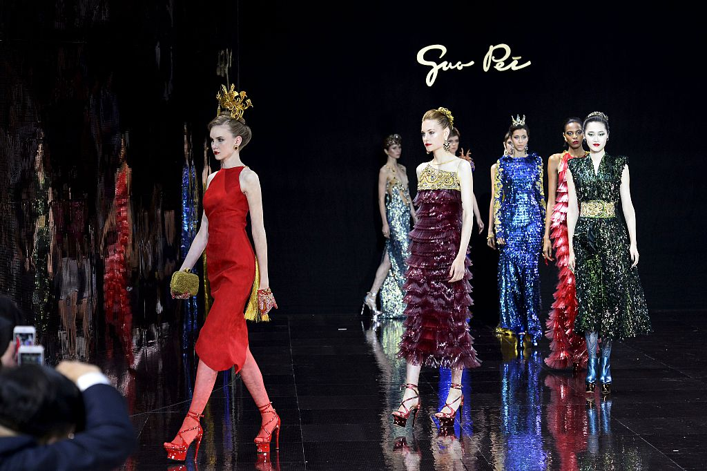Guo Pei during the 2016-2017 fall/winter Haute Couture collection fashion show on July 3, 2016 in Paris.
