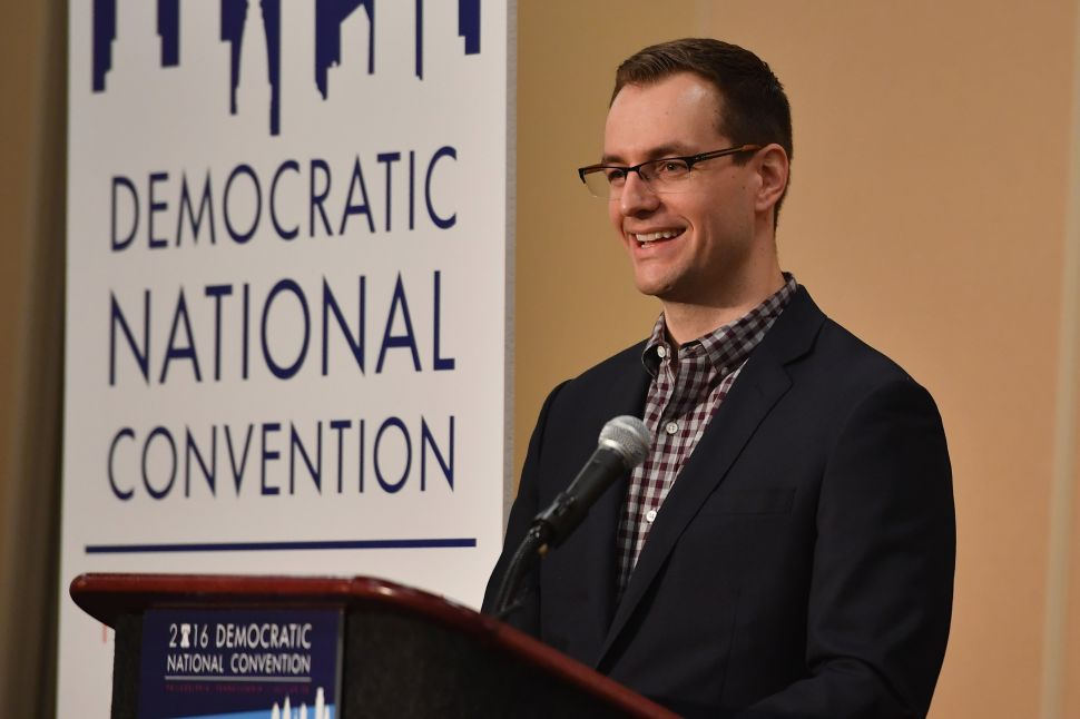 Robby Mook Campaign Manager for Hillary for America speaks at a press conference in the convention centre on July 25, 2016 in Philadelphia, Penn.