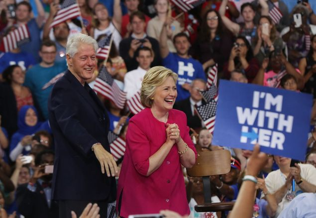 Democratic presidential candidate Hillary Clinton is joined by her husband former U.S. President Bill Clinton at a rally a day after accepting the Democratic Party's nomination for president at Temple University on July 29, 2016 in Philadelphia, Penn.