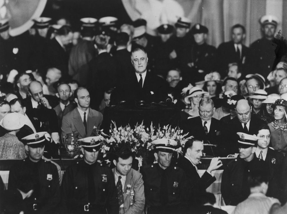 President Franklin D Roosevelt giving his acceptance speech in Philadelphia, 1936.