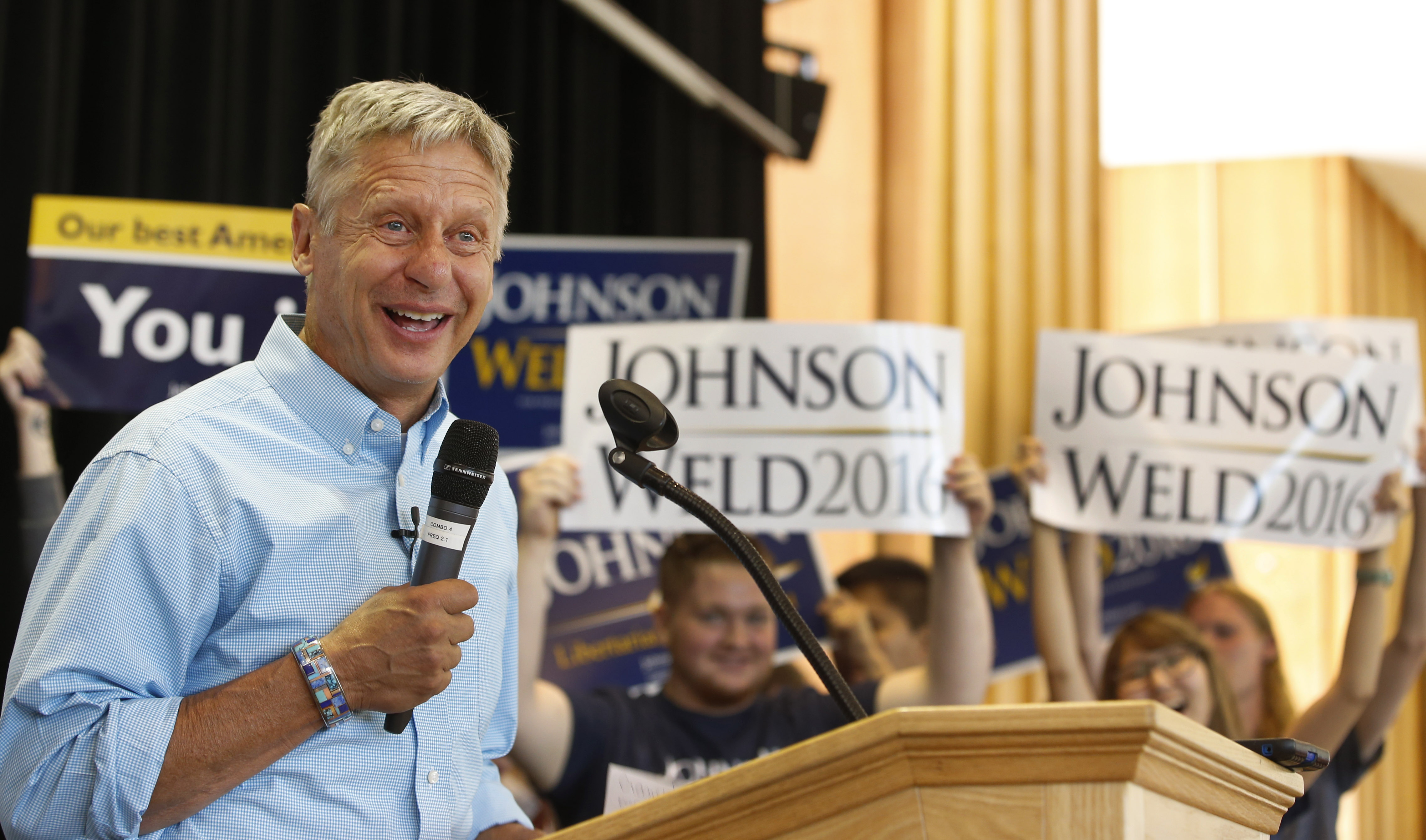 Libertarian presidential candidate Gary Johnson talks to a crowd of supporters at a rally on August 6, 2015 in Salt Lake City, Utah