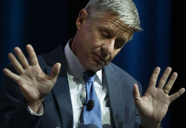 Libertarian presidential nominee Gary Johnson gestures as he speaks during a 2016 Presidential Election Forum, hosted by Asian and Pacific Islander American Vote (APIAVote) and Asian American Journalists Association (AAJA), at The Colosseum at Caesars Palace August 12, 2016 in Las Vegas