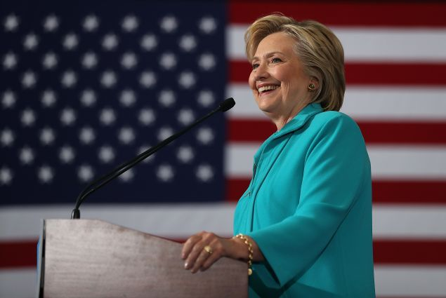 Democratic presidential nominee former Secretary of State Hillary Clinton speaks during a campaign even at Truckee Meadows Community College on August 25, 2016